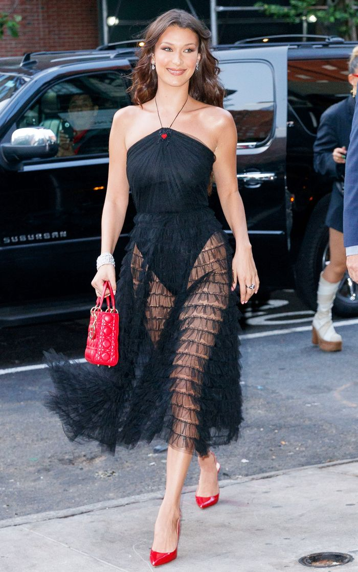 Bella Hadid Wore A Sheer Dior Dress In New York Who What Wear