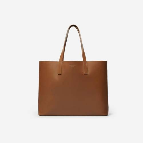 Women's Leather Market Tote Bag by Everlane in Cognac
