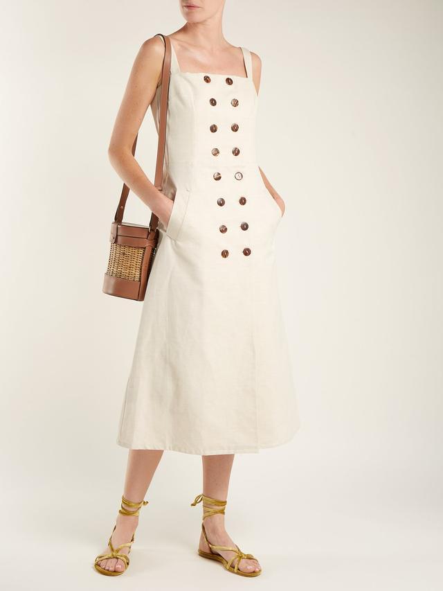 Monica cotton and linen-blend dress