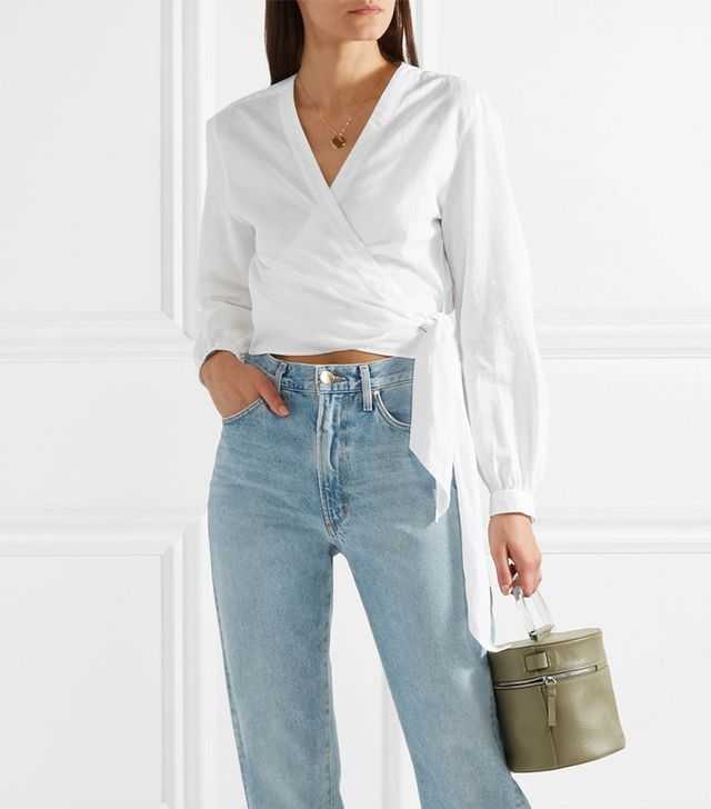 Prescot Cotton And Linen-blend Wrap Top