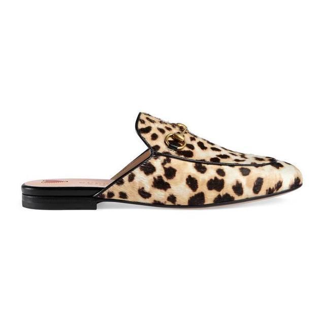 Princetown leopard calf hair slipper