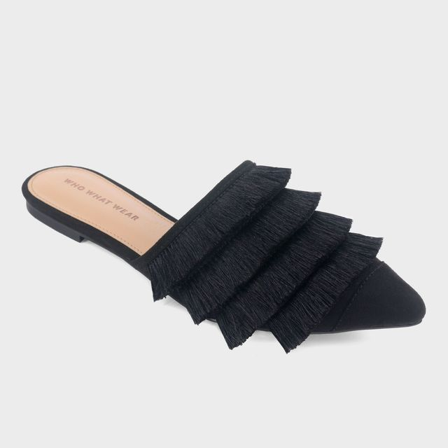 Who What Wear Annie Satin Tassel Pointed Mules