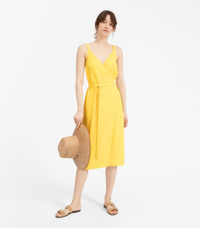 Women's Japanese GoWeave Tank Wrap Dress by Everlane in Yellow, Size 16