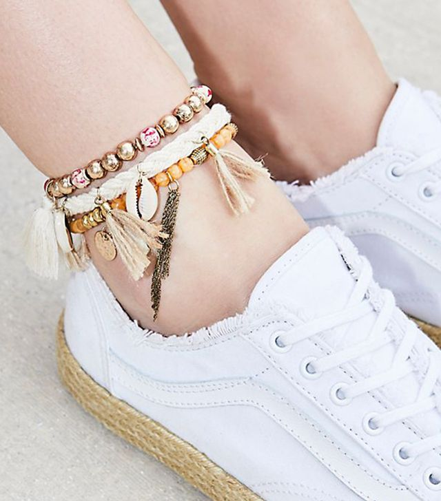 Sonic Bloom Embellished Anklet Set by Free People