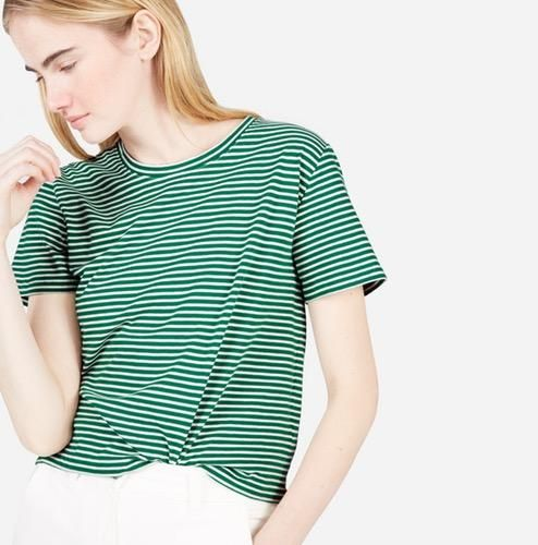 Women's Cotton Box-Cut T-Shirt by Everlane in Green / Bone Stripe, Size S