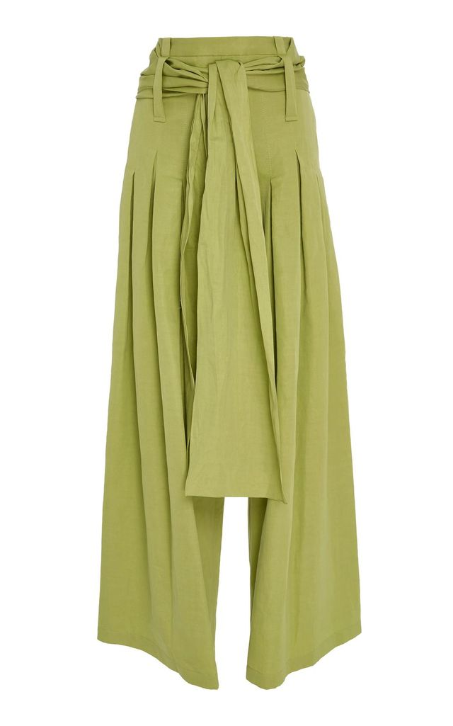 Pleated Cotton-Blend Pants with Sash Belt