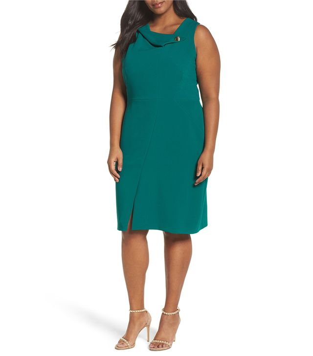 Envelope Neck With Button Sheath Dress