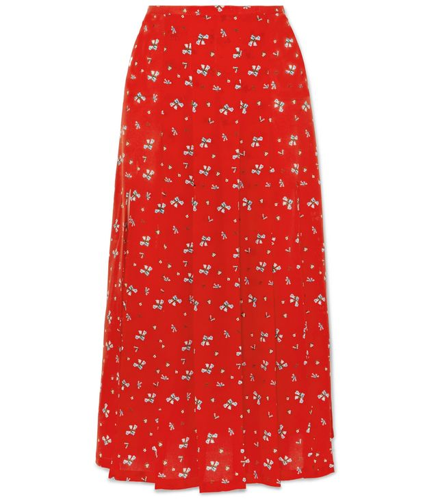 Georgia Pleated Floral-print Silk Crepe De Chine Midi Skirt
