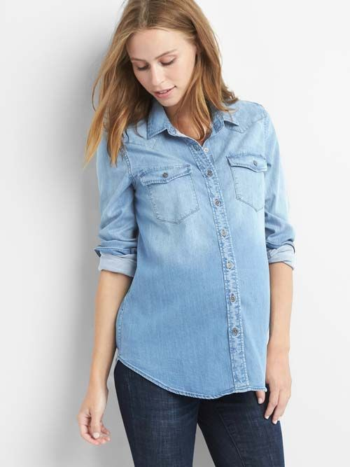 2e6d6b68c92be 15 Maternity Chambray Shirts for Every Parent-to-Be | Who What Wear