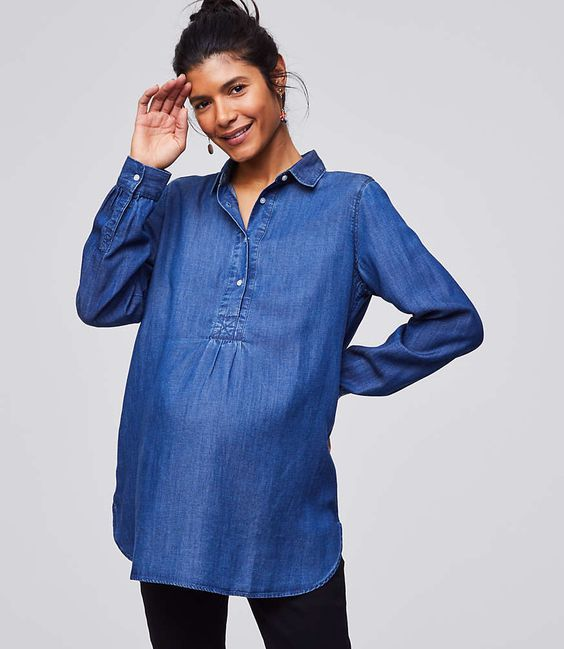 5d631f1817b 15 Maternity Chambray Shirts for Every Parent-to-Be