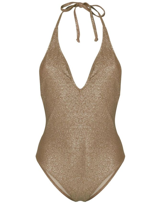 plunging neckline metallic swimsuit