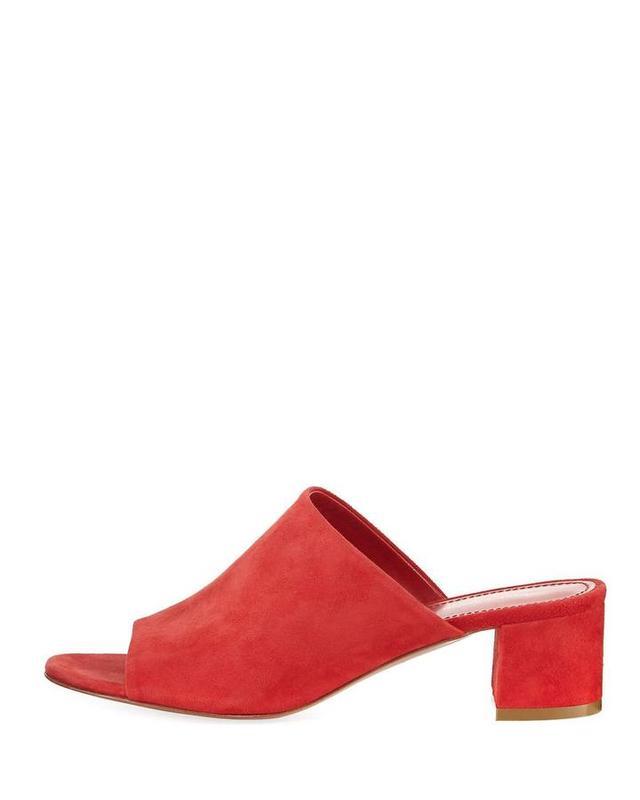 Suede 40mm Block-Heel Mule Sandal
