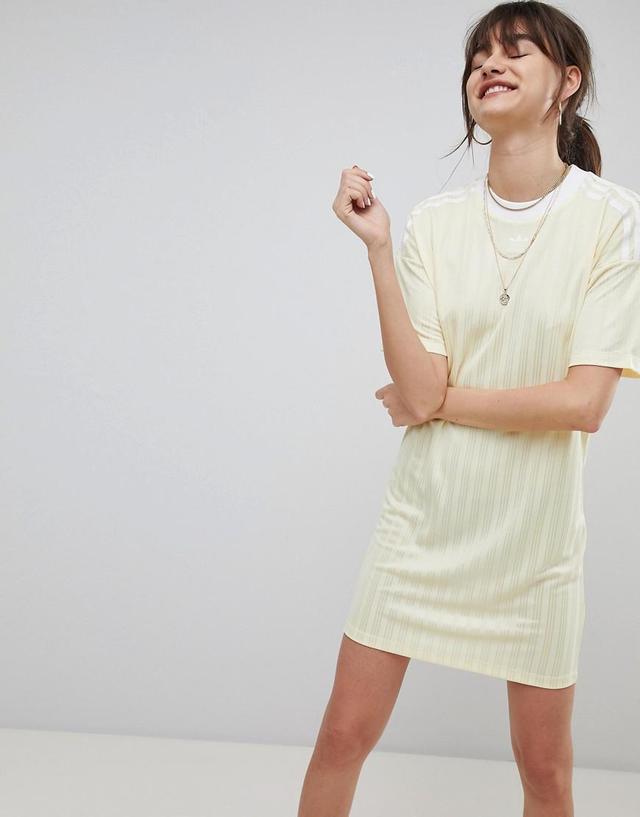adicolor Three Stripe Dress In Yellow