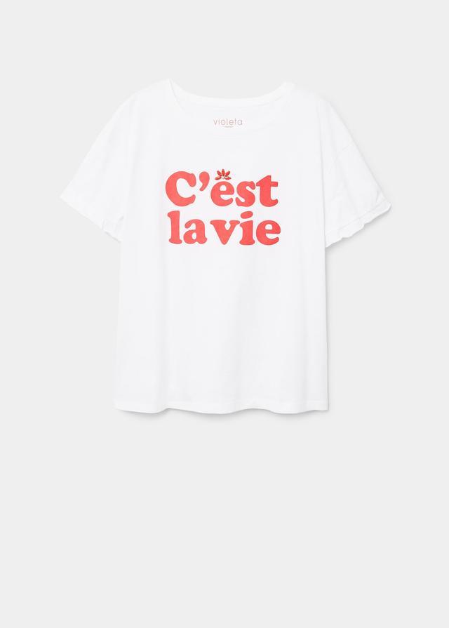 Violeta by Mango Applique Message T-Shirt