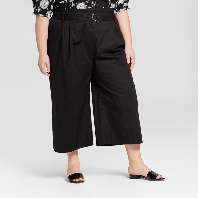 Plus Size Striped Paperbag Crop Pants