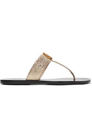 Marmont Logo-embellished Metallic Textured-leather Sandals