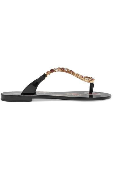 Crystal-embellished Patent-leather Sandals