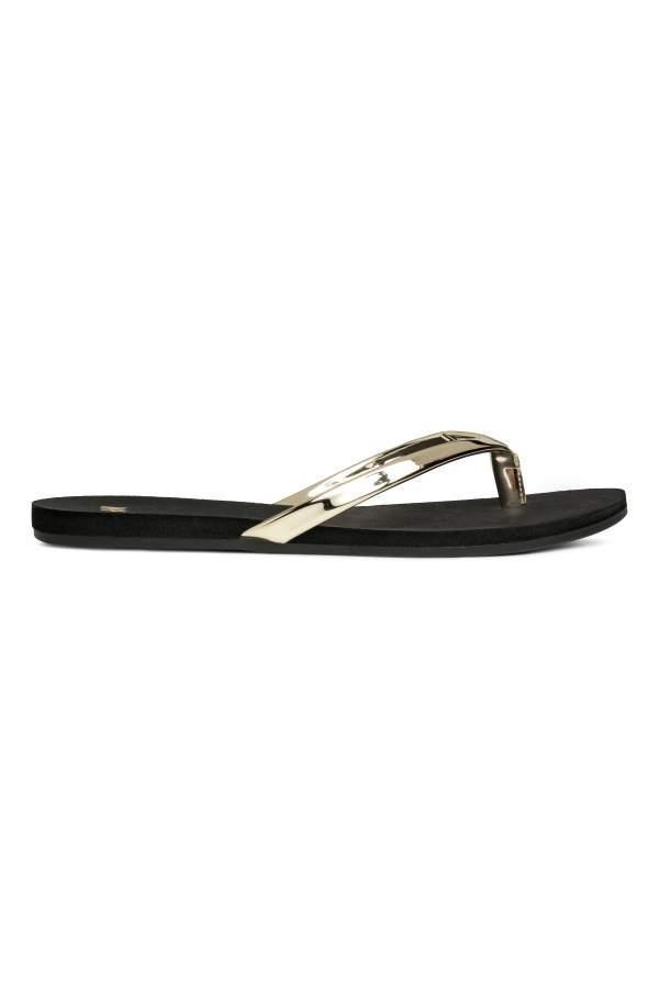 - Flip-flops - Black/gold-colored - Women