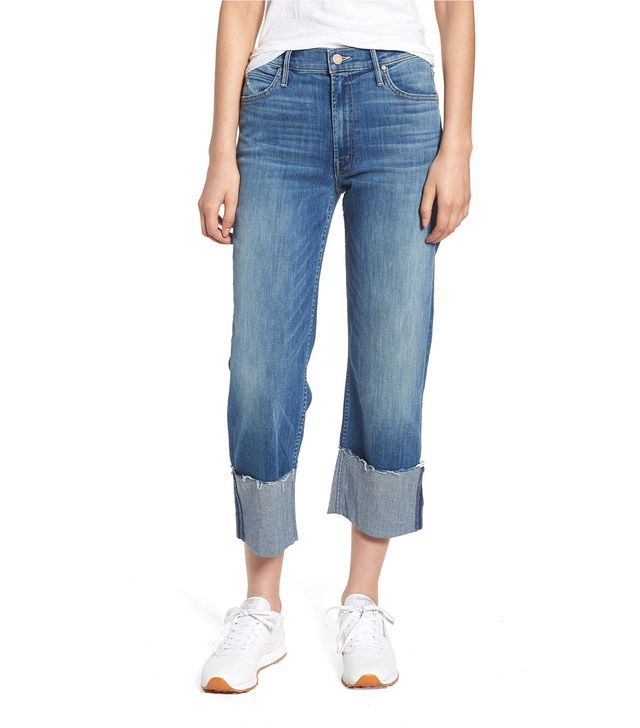 Women's Mother The Dusty Cuff Fray Straight Leg Jeans