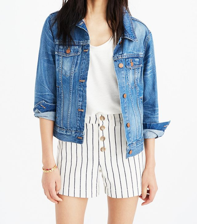 Madewell Emmett Button-Front Shorts in Stripe