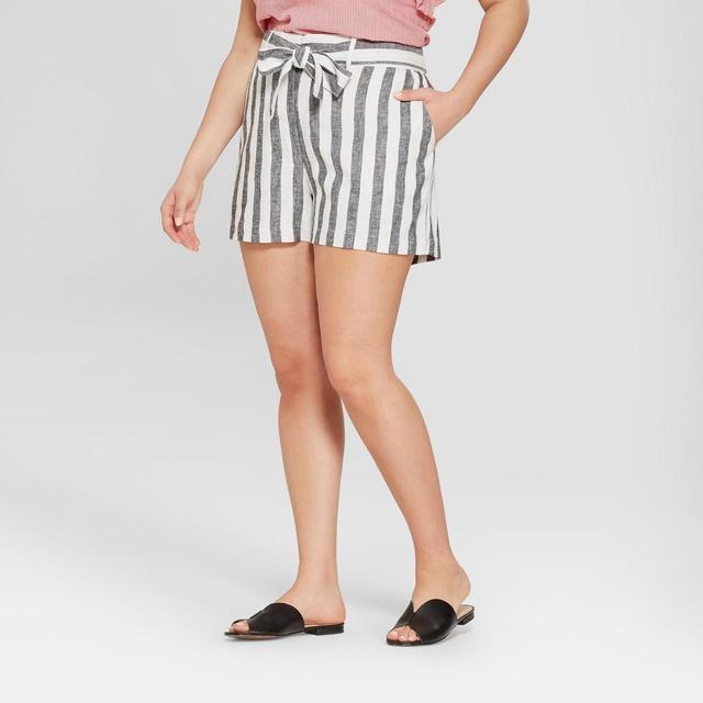 Plus Size Striped Waist Tie Shorts