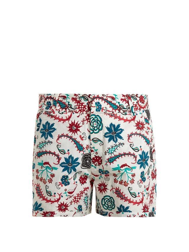 Leopard Garden-print cotton shorts