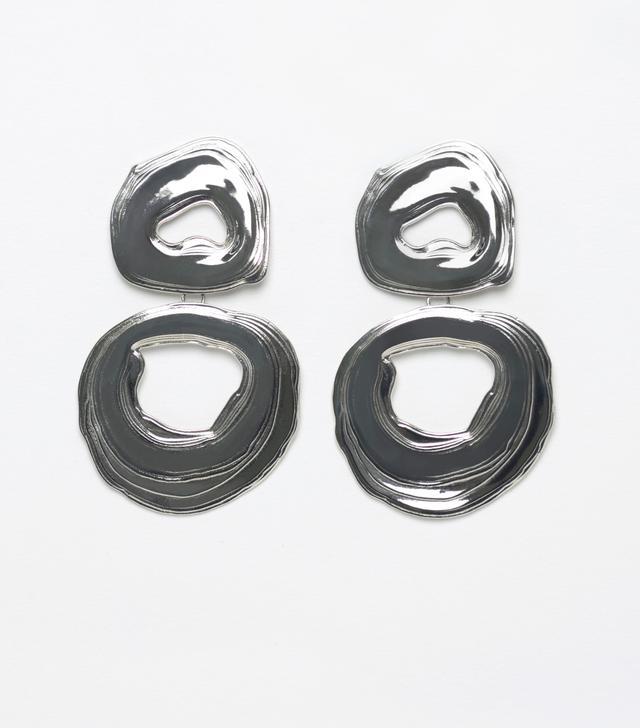Leigh Miller White Bronze Double Whirlpool Earrings