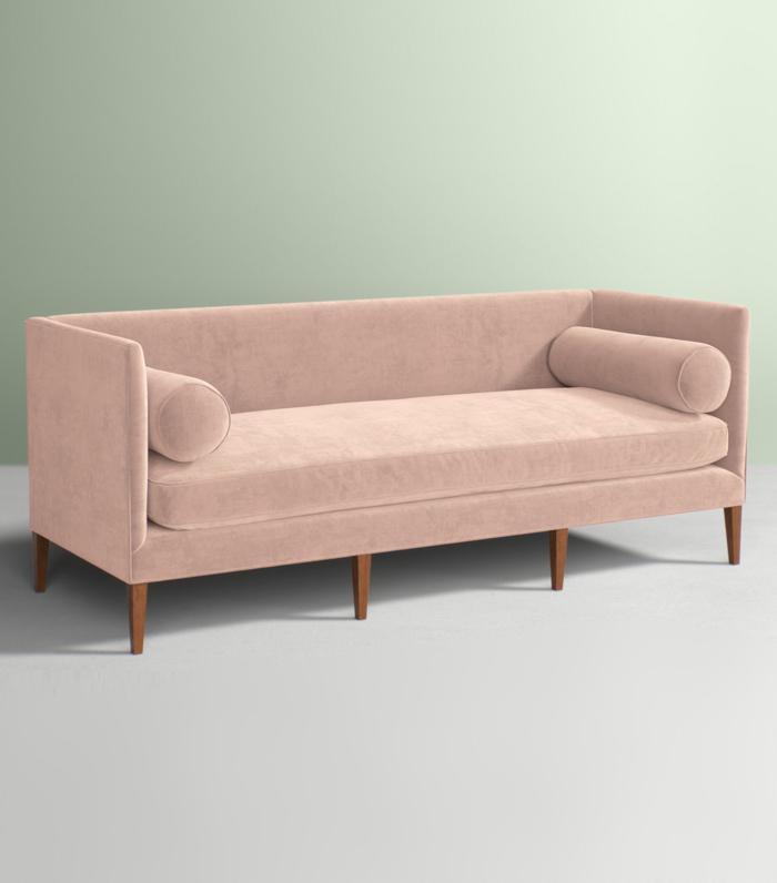 9 pink velvet sofas we all secretly need in our lives mydomaine - Pink Velvet Sofa