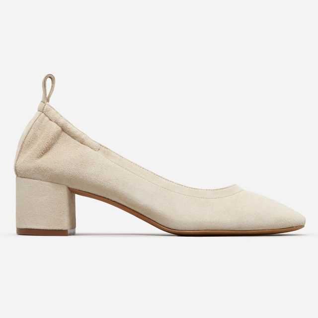 Women's Leather Block Heel Pump by Everlane in Natural Suede, Size 11