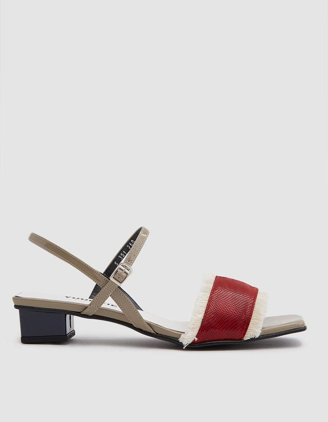 Fringe Detail Sandal in Red/Navy