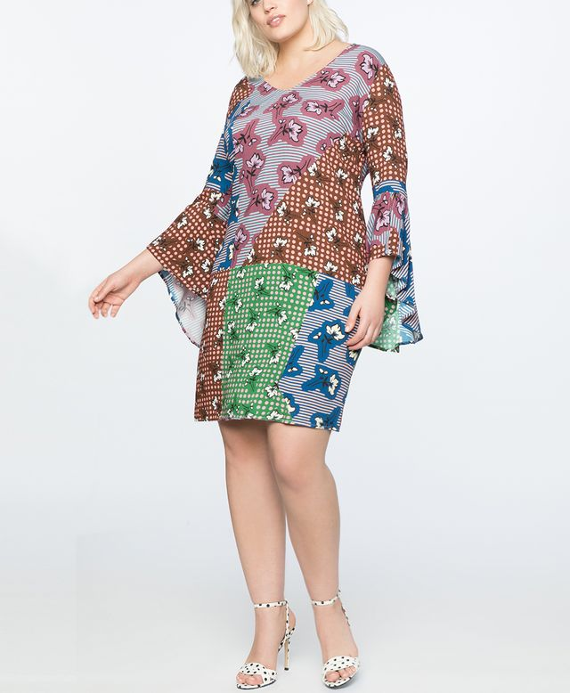 Eloquii Flare Sleeve Printed Easy Dress