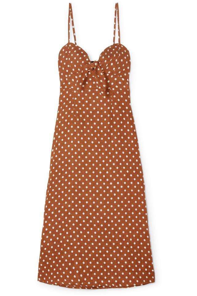 Fiscardo Polka-dot Linen Midi Dress