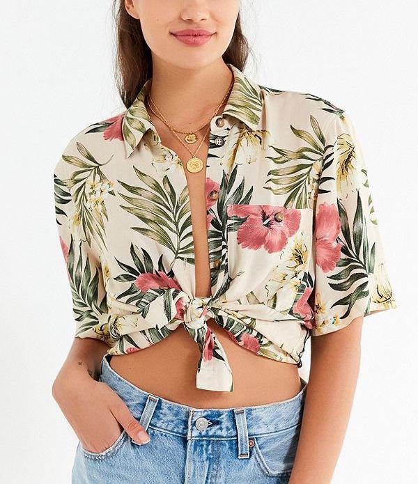 UO Floral Burst Souvenir Button-Down Shirt