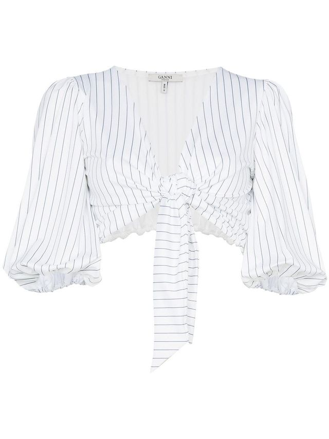 White stripe crop top with puff sleeves