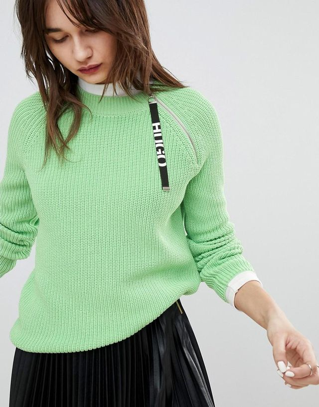 Hugo Lime Knit with Logo Tab