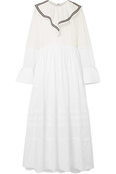 Sailor Ruffled Cotton-voile And Point D'esprit Maxi Dress
