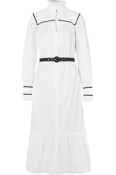 Ruffle-trimmed Cotton-seersucker Midi Dress