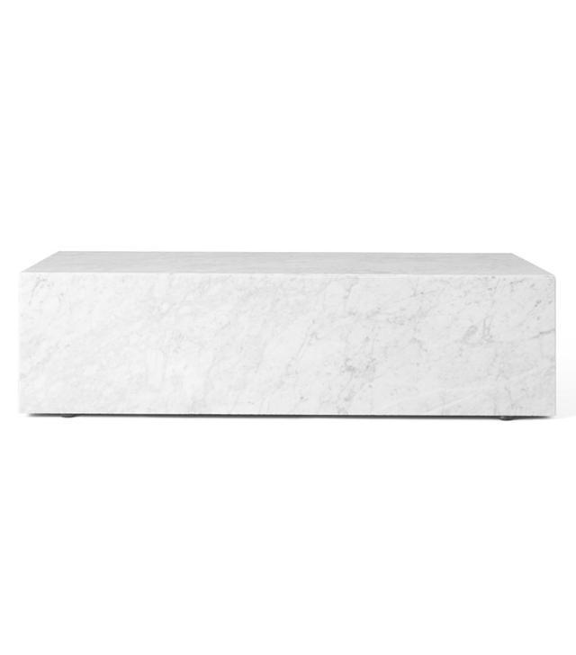 Menu Plinth Table Low in White Carrara Marble
