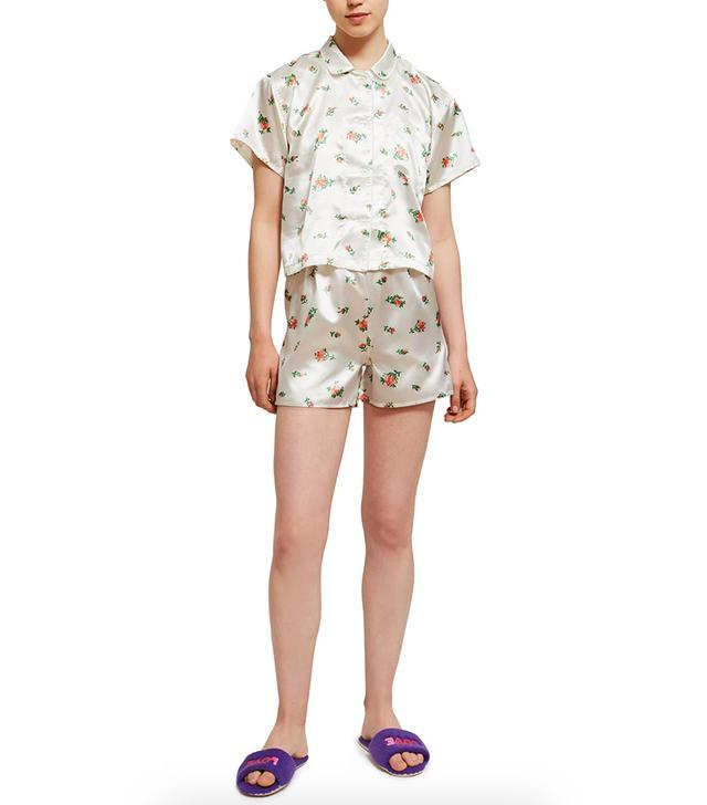 OK Satin Floral Pajama Set