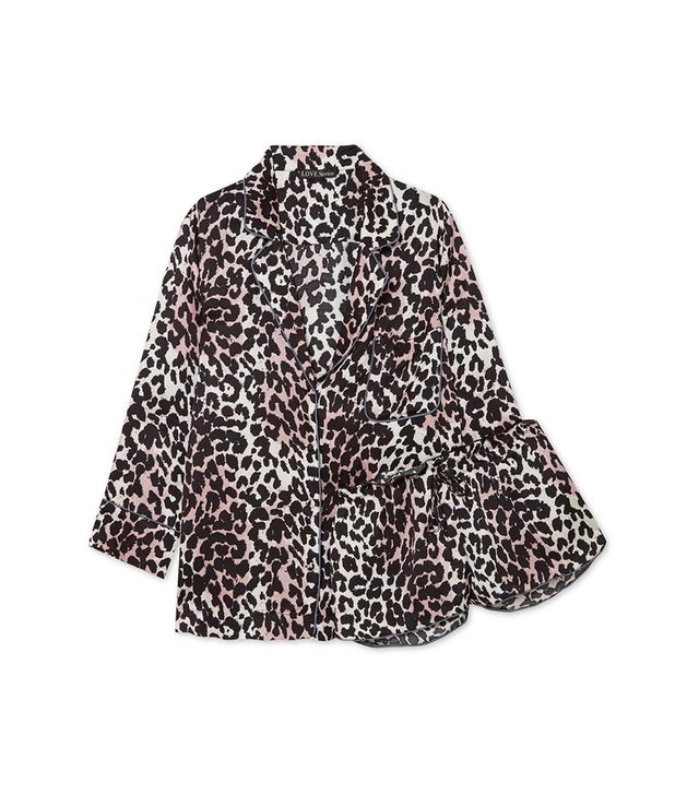 Jude L And Audrey H Leopard-print Satin Pajama Set