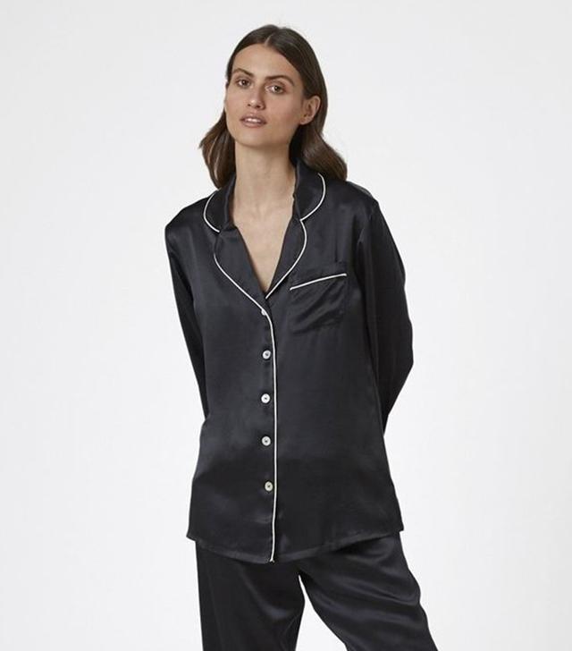 Ginia Silk Pajama Shirt with Contrast Piping