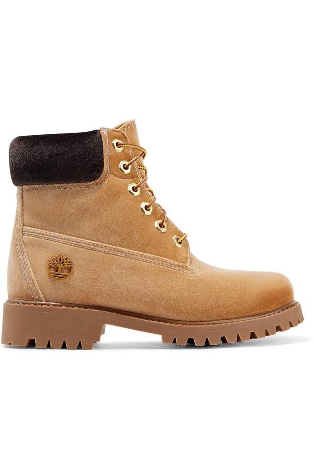 Off-White Timberland Logo-Embossed Velvet Ankle Boots