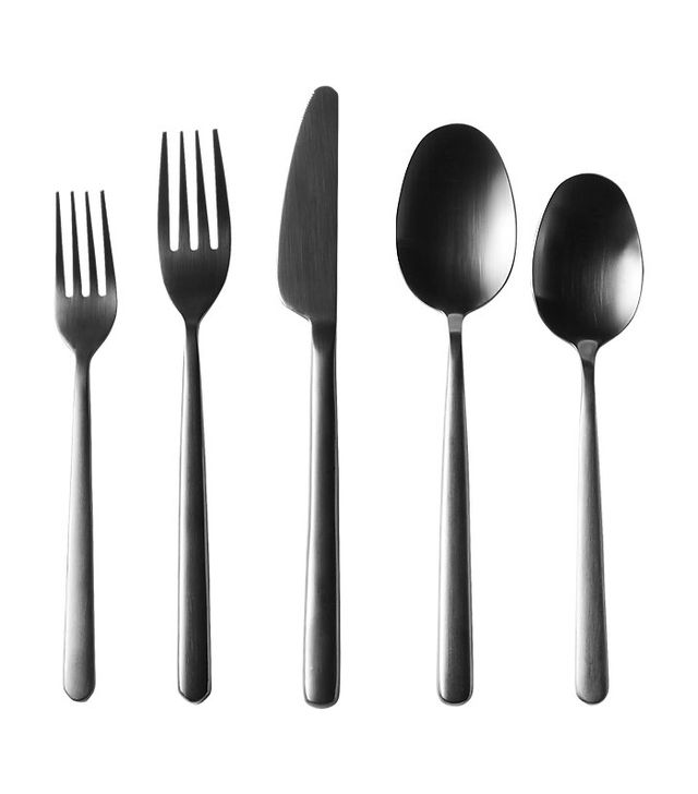 CB2 20-Piece Allegra Brushed Black Flatware Set