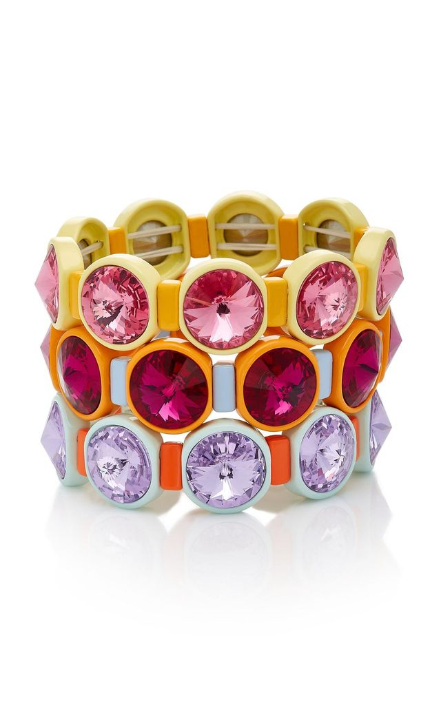 Set of Three Technicolor Crystal Bracelets