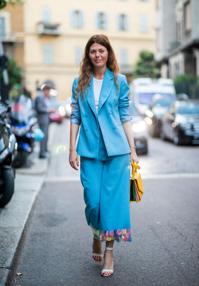<p><strong>Style notes:</strong> Would this even be a street style gallery without a matching suit thrown in? This round-the-year trend looks even better when layered up (win). </p>