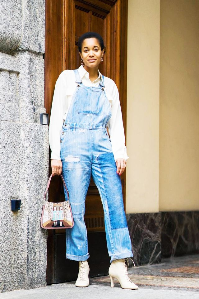 b15a53fc45a Dress-down Friday outfits  denim overalls with white shirt and heel boots