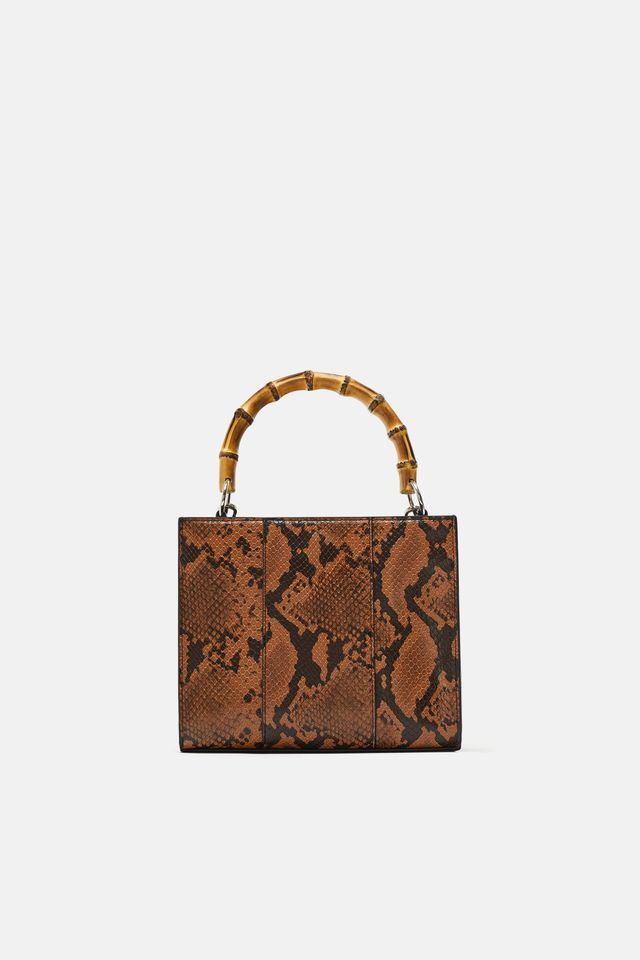 Zara Handbag With Bamboo Handle