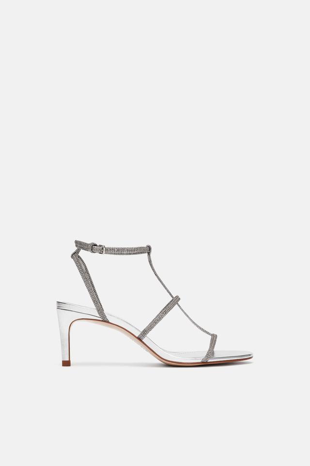 Zara Heeled Sandal With Laminated Straps