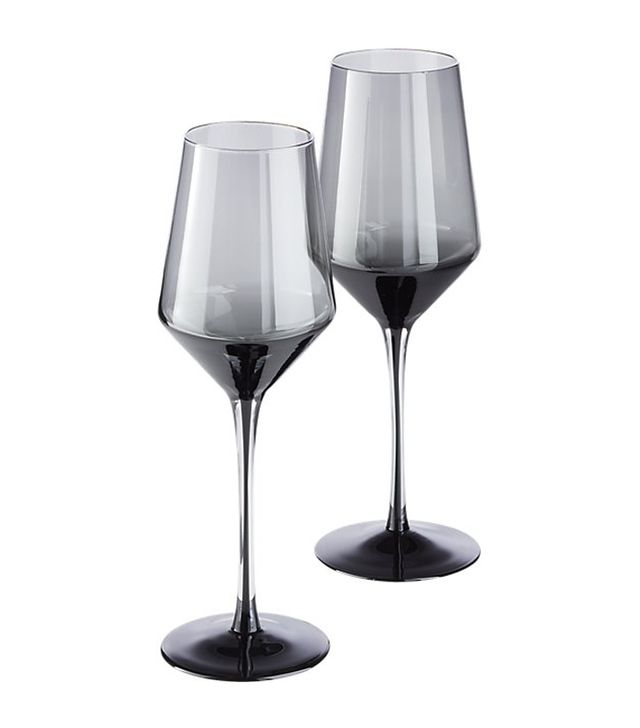 CB2 Ghost Smoke Grey Wine Glasses