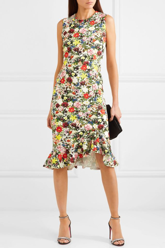 Louisa Ruffled Floral-print Ponte Dress